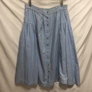 Denim looking vintage skirt snap down front M
